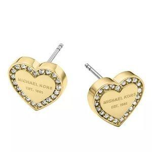 Michael Kors Gold Heart Crystal Stud Earrings